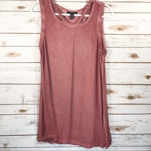 Style & Co Long Heathered Coral Tank Top Medium